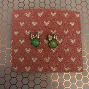Jewelry - Stud Earrings with Jade & Diamond Colored Stones